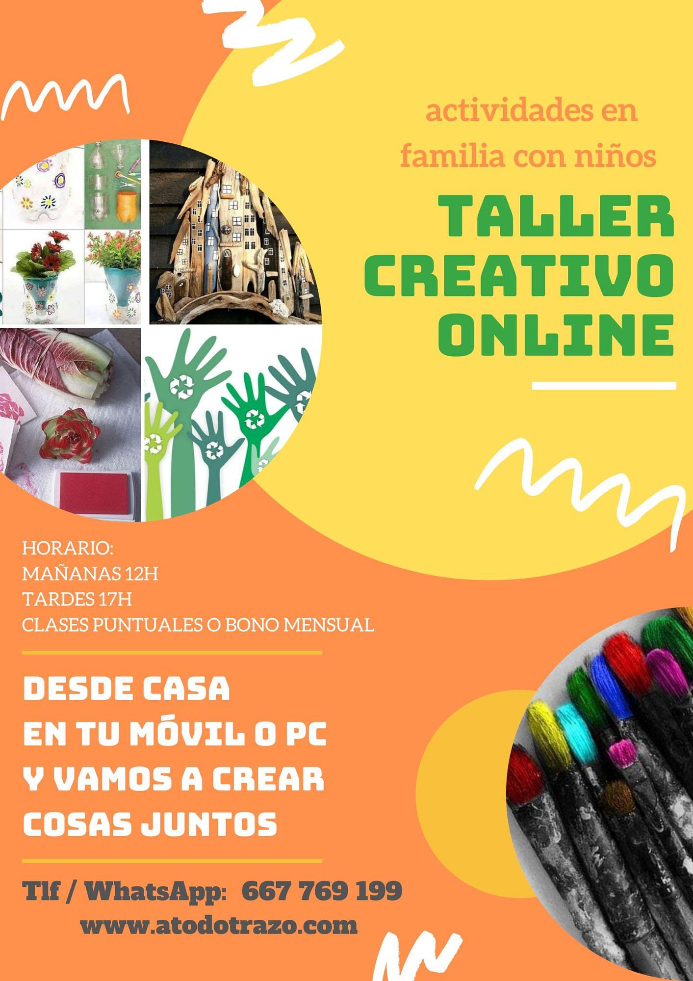 taller creativo, online, alleres infantiles, reciclaje creativo, educacion infantil, diversion, familia, niños