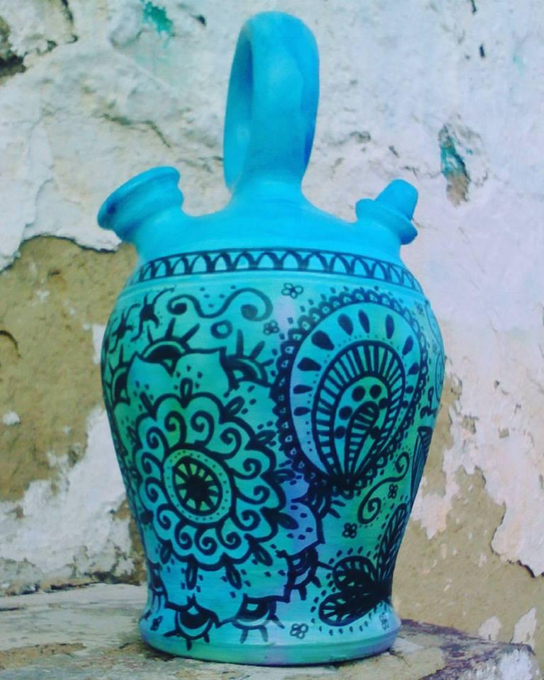 Botijo floral azul
