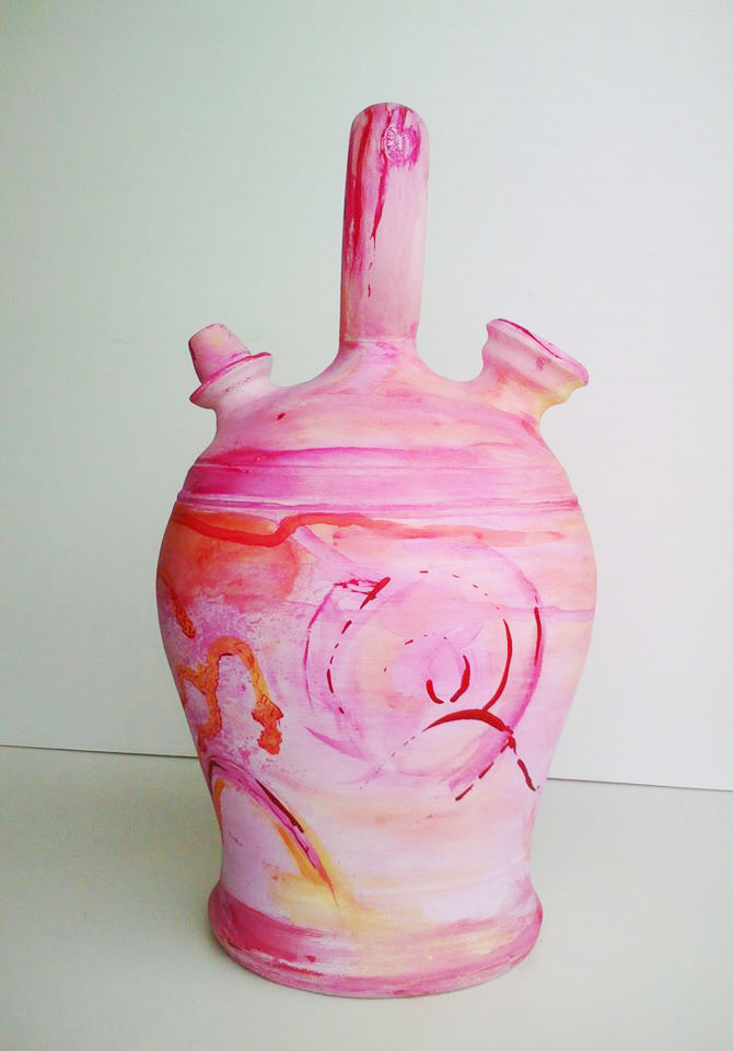 Botijo abstracto decoración a mano